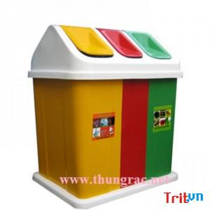 Sản xuất thùng rác 3 ngăn dùng phân loại rác thải Ms Thanh 0913 819 238