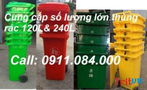 Quận 5: Phân phối thùng rác công cộng 120L màu xanh, vàng, cam 0911.084.000 Ms Ngọc