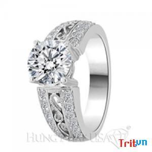 Nhẫn kim cương cưới CARALOVE bức tường thành của tình yêu