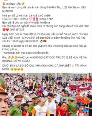 VFF cảnh báo thông tin bán vé giả trận U23 Việt Nam