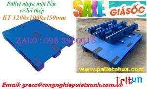 Pallet nhựa 1200x1000mmx150mm mặt liền lõi sắt