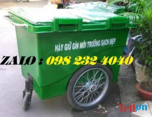 Thùng rác nhựa composite 660 lít có bánh xe
